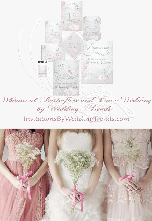 Romantic Whimsical Butterflies and Lace